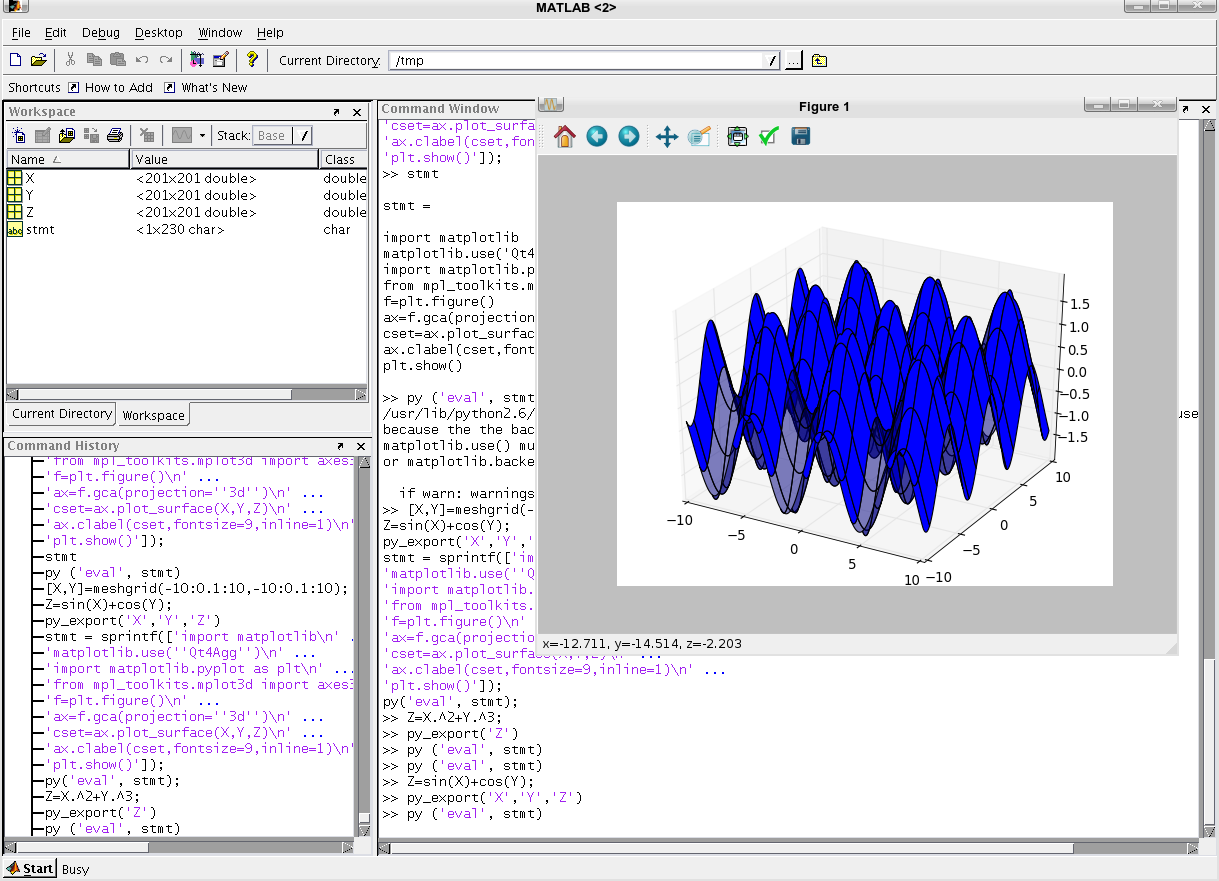 matpy – call Python from MATLAB – Adaszewski Research and